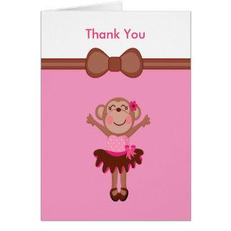 Cute, Pink  Monkey in Tutu Girl Thank You Card