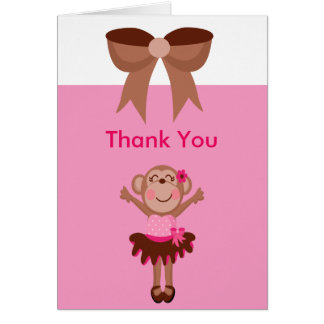 Cute, Pink  Monkey in Tutu Girl Thank You Greeting Cards