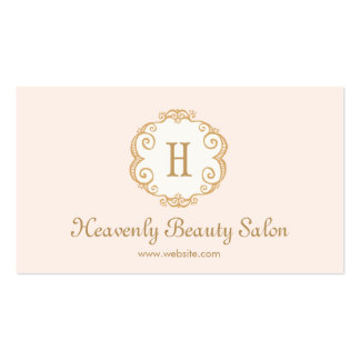 Cute Pink Monogram Beauty Salon Cosmetology 2 Business Card