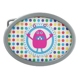 Cute Pink Monster on Polka Dots Belt Buckles