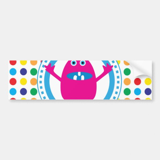 Cute Pink Monster on Polka Dots Car Bumper Sticker