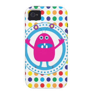 Cute Pink Monster on Polka Dots Case-Mate iPhone 4 Case