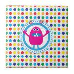 Cute Pink Monster on Polka Dots Ceramic Tiles