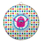 Cute Pink Monster on Polka Dots Dartboard With Darts