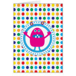 Cute Pink Monster on Polka Dots Greeting Card