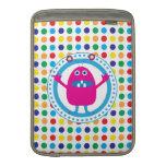 Cute Pink Monster on Polka Dots MacBook Air Sleeves