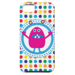 Cute Pink Monster on Polka Dots iPhone 5 Case