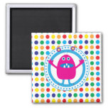Cute Pink Monster on Polka Dots Magnets