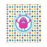 Cute Pink Monster on Polka Dots Memo Notepad