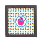Cute Pink Monster on Polka Dots Premium Keepsake Boxes