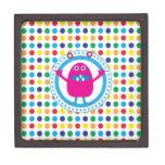 Cute Pink Monster on Polka Dots Premium Keepsake Box