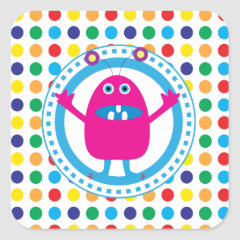 Cute Pink Monster on Polka Dots Stickers