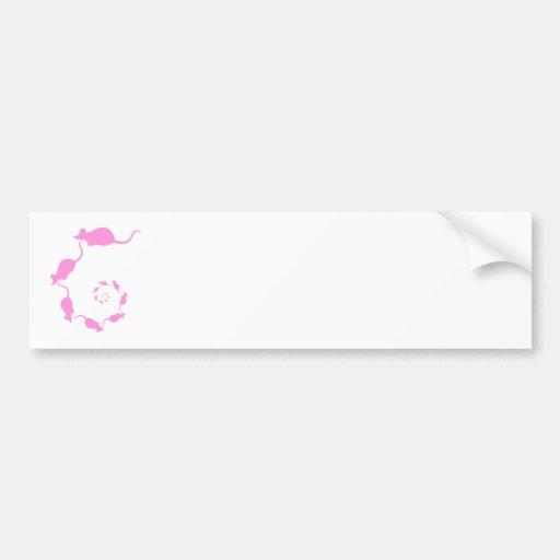 Cute Pink Mouse Design. Spiral of Mice. Car Bumper Sticker