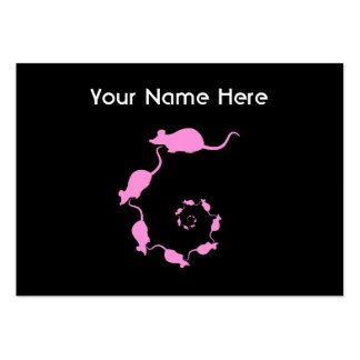 Cute Pink Mouse Design. Spiral of Mice. Large Business Cards (Pack Of 100)