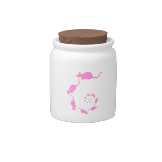 Cute Pink Mouse Design. Spiral of Mice. Candy Jars