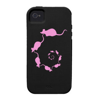 Cute Pink Mouse Design Spiral of Mice Vibe iPhone 4 Cover