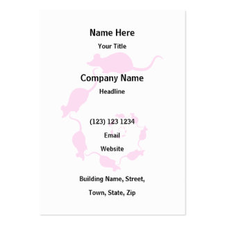 Cute Pink Mouse Design. Spiral of Mice. Large Business Card