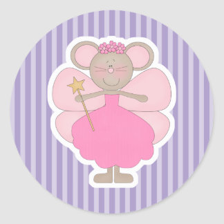 Cute Pink Mouse Fairy Classic Round Sticker