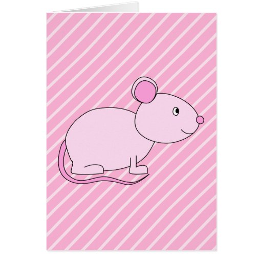 Cute Pink Mouse. Greeting Cards
