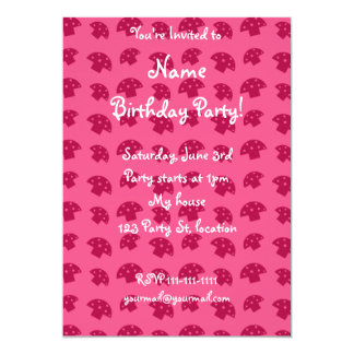 Cute pink mushroom pattern 5x7 paper invitation card