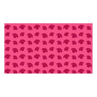 Cute pink mushroom pattern business card template