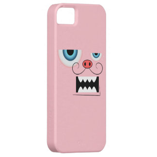 Cute Pink Mustache Monster Emoticon iPhone SE/5/5s Case
