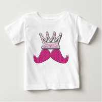 Cute Pink Mustache Printed Pearls Crown Baby T-Shirt