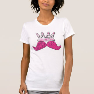 Cute Pink Mustache Printed Pearls Crown T-shirt