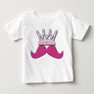 Cute Pink Mustache Printed Pearls Crown Tee Shirt