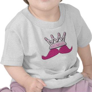 Cute Pink Mustache Printed Pearls Crown Tee Shirts