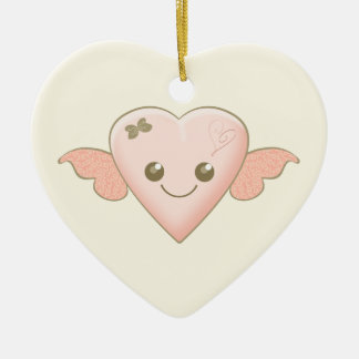 Cute Pink n Coffee Kawaii Heart with Wings and Bow Ceramic Ornament