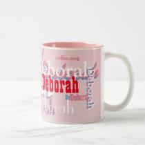 cute pink names pattern, personalized Two-Tone coffee mug