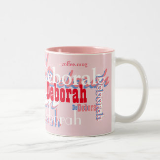 cute pink names pattern, personalized Two-Tone coffee mug