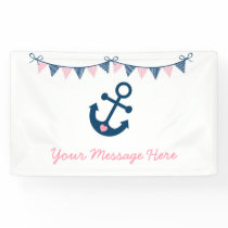 Cute Pink Nautical Baby Shower Banner