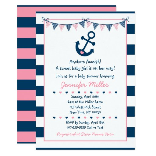 Cute Pink Nautical Baby Shower Invitations
