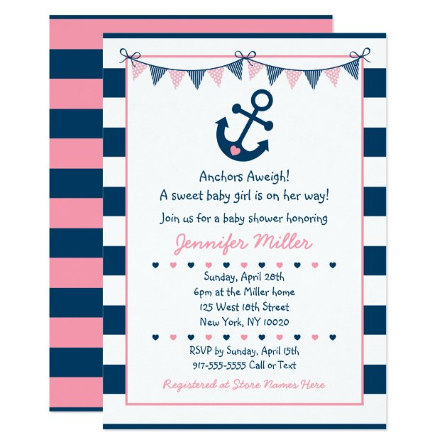 63 attractive nautical themed baby shower invitations cute pink nautical baby shower invitations filmwisefo Images