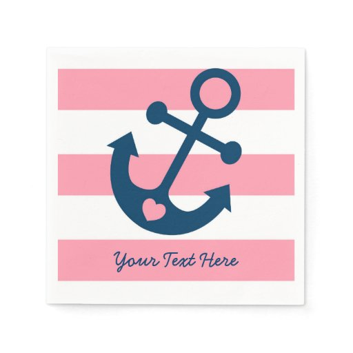 Cute Pink Nautical Personalized Napkins