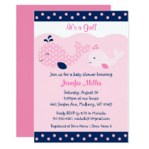 Cute Pink & Navy Whale Baby Shower Card