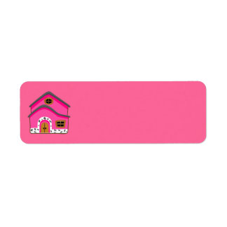 CUTE PINK NEW JERSEY CARTOON HOUSE GIRLY HOME RETURN ADDRESS LABEL