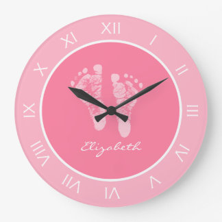 Cute Pink Nursery Footprints With Baby Girl Name Large Clock