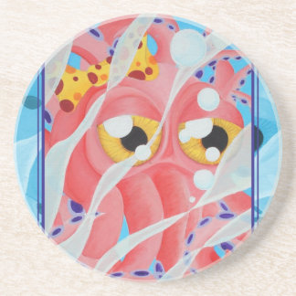 Cute Pink Octopus Painting Coaster