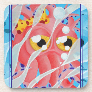 Cute Pink Octopus Painting Coasters