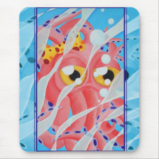 Cute Pink Octopus Painting Mouse Pad
