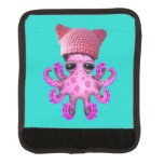 Cute Pink Octopus Wearing Pussy Hat Luggage Handle Wrap