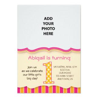 "Cute Pink/Orange Girls First Birthday 5"" X 7"" Invitation Card"