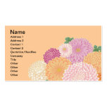 Cute Pink Orange Japanese Floral Vector Business Cards