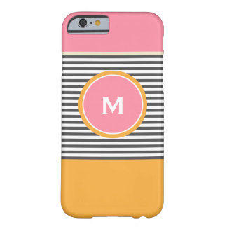Cute pink orange preppy stripes pattern monogram barely there iPhone 6 case