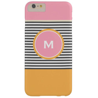 Cute pink orange preppy stripes pattern monogram barely there iPhone 6 plus case