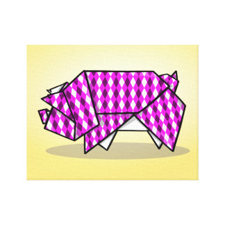 Cute Pink Origami Pig Canvas Print