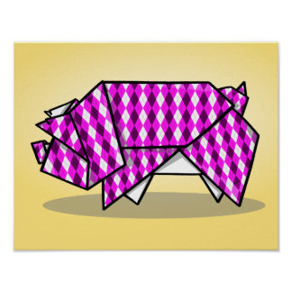Cute Pink Origami Pig Poster